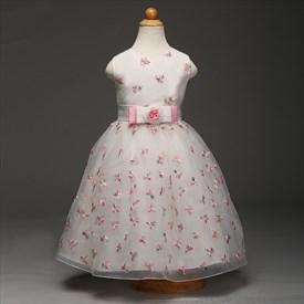 White Sleeveless Floor Length Flower Girl Dress With Embroidery