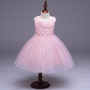 Pink Beaded Lace Top Knee Length Flower Girl Dress With Bow
