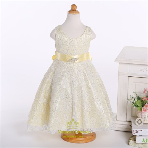 Champagne A Line Lace Short Flower Girl Dress With Beaded Sash