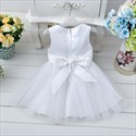 Champagne Lace Top Knee Length Flower Girl Dresses With Flowers