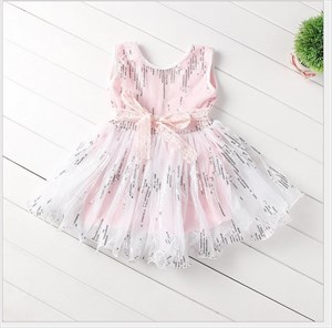 Pink Knee Length A Line Flower Girl Dress With Sash And Sequins