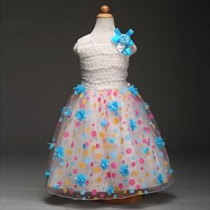 White Floor Length Ball Gown Flower Girl Dress With Flowers In Skirt