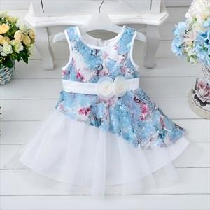 Blue A Line Knee Length Floral Print Flower Girl Dress With Sash