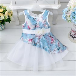 Blue A Line Knee Length Floral Print Flower Girl Dress With Sash