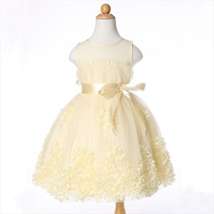 Champagne Sleeveless Knee Length Flower Girl Dress With Embellishments