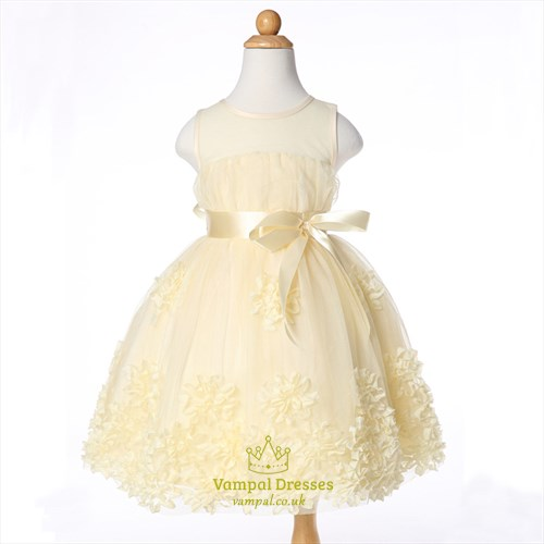 Champagne Sleeveless Knee Length Flower Girl Dress With Embellishments