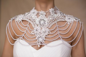 High-Neck Wedding Shoulder Necklace With Faux Pearls