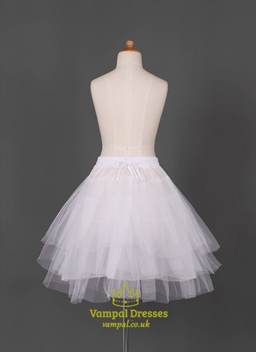 Girls Tulle Taffeta Three-Tier Short-Length Petticoat