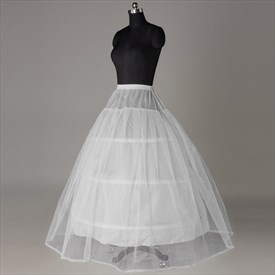 Women Tulle Satin Floor-Length 2-Tier Ball Gown Petticoat
