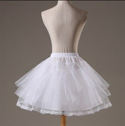 Girls Tulle Lace Four-Tier Short-Length A-Line Petticoat