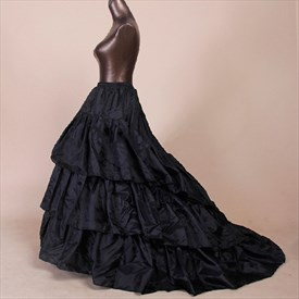 Women Black Satin A-Line Petticoat With Chapel Train