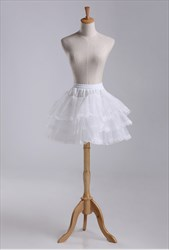 Girls Tulle Taffeta/Lace Short-Length Three-Tier Petticoat