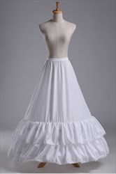 Women Nylon Taffeta Floor-Length Two-Tier A-Line Petticoat