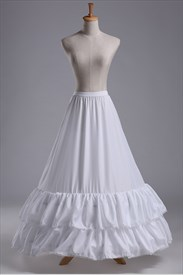 Women Nylon Taffeta Floor-Length Two-Tier A-Line Petticoat