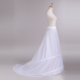 Women Polyester One-Tier Petticoat With Chapel Train