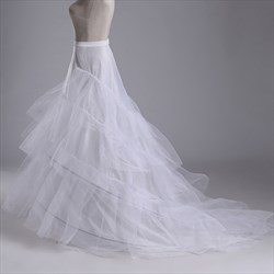 Women Nylon Tulle Netting Chapel Train Floor Length Petticoat