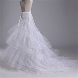 Women Nylon Tulle Netting Chapel Train Floor Length Petticoat