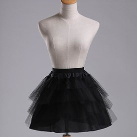 Girls Tulle Netting Black Four-Tier Short-Length A-Line Petticoat