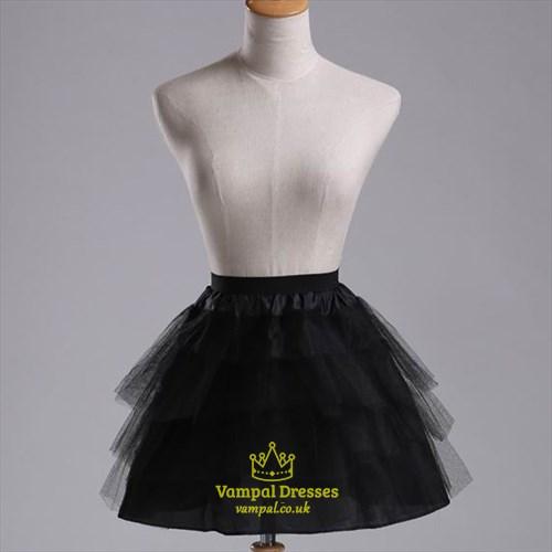 Girls Tulle Netting Black Four-Tier Short-Length A-Line Petticoat