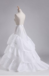 Women Polyester Lace Floor Length Petticoat With Chapel Train