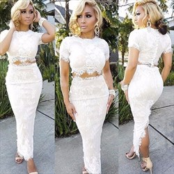 White Short Sleeve Two-Piece Lace Ankle-Length Evening Gown With Slit