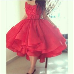 Red Off-The-Shoulder Tea-Length Cocktail Dress With Bowknot