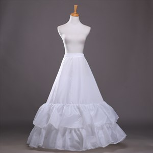 Women Polyester Lace Floor Length Ball Gown Two-Tier Petticoat
