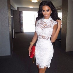 Illusion White Capped Sleeve High-Neck Lace Knee-Length Cocktail Dress