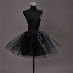 Girls Tulle Netting Satin Black Short-Length A-Line Petticoat