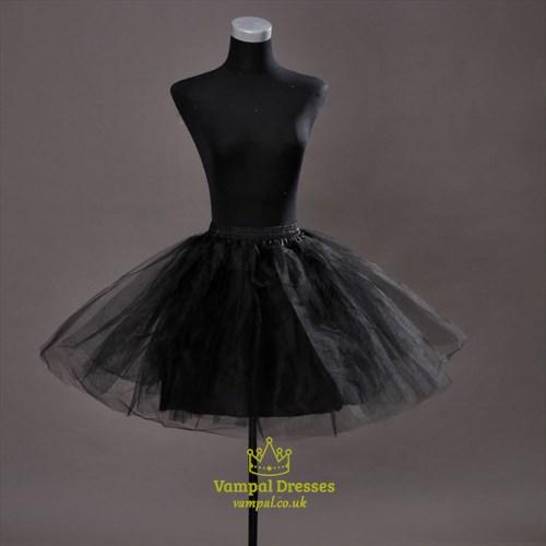 Girls Tulle Netting Satin Black Short-Length A-Line Petticoat