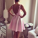 Pink Backless Deep V-Neck Sleeveless Knee-Length Homecoming Dresses