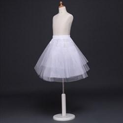 Girls Tulle Netting/Nylon Short-Length A-Line Four-Tier Petticoat