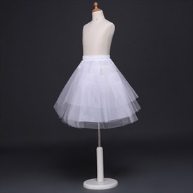 Girls Tulle Netting/Nylon Short-Length A-Line Four-Tier Petticoat