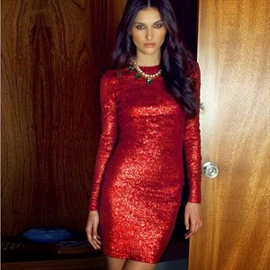 Glittery Red Sequin Long Sleeve Jewel Tight Homecoming Dress