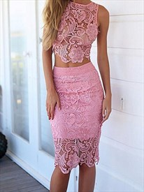 Pink Sleeveless Lace Two-Piece Knee-Length Cocktail Dress With Slit