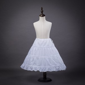 Girls Polyester Lace Edge Short-Length One-Tier A-Line Petticoat