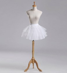 Girls Tulle Netting/Nylon A-Line Short-Length Three-Tier Petticoat