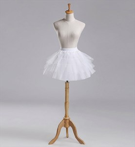 Girls Tulle Netting/Nylon A-Line Short-Length Three-Tier Petticoat