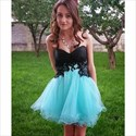 Pretty Aqua Blue Sweetheart Neckline Lace Up Tulle Homecoming Dresses