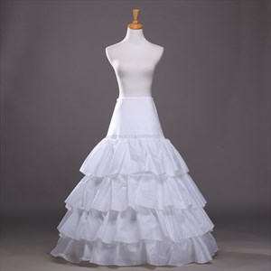 Women Polyester Floor Length Four-Tier A-Line Ball Gown Petticoat