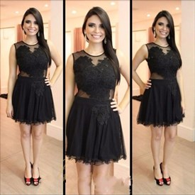 Elegant Black Sleeveless A Line Homecoming Dresses With Lace Appliques