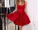 Red Sleeveless Square Neck Cocktail Dresses With Back Out And Bowknot