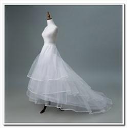 Women Tulle Nylon/Ribbon Four-Tier Petticoat With Chapel Train
