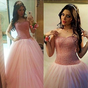 Elegant Pink Beaded Top Embellished Sweetheart Neckline Ball Gown Dress