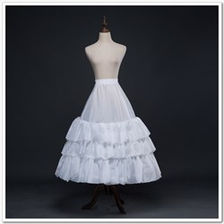 Women Taffeta Polyester Tea-Length A-Line Three-Tier Petticoat