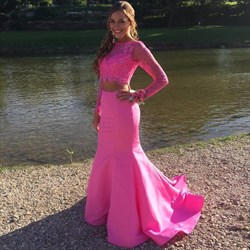 Hot Pink Long Sleeves Lace Top Two Piece Mermaid Prom Dress With Train