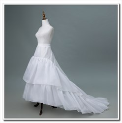 Women Polyester Nylon White Four-Tier Petticoat With Chapel Train