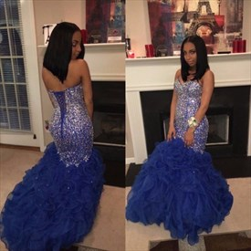 Royal Blue Sweetheart Beaded Mermaid Cocktail Dresses With Ruffles