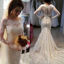 Elegant Lace Bodice Long Sleeves Mermaid Wedding Dresses With Train