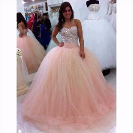 Stunning Pearl Pink Beaded Top Sweetheart Neckline Ball Gowns Dresses
